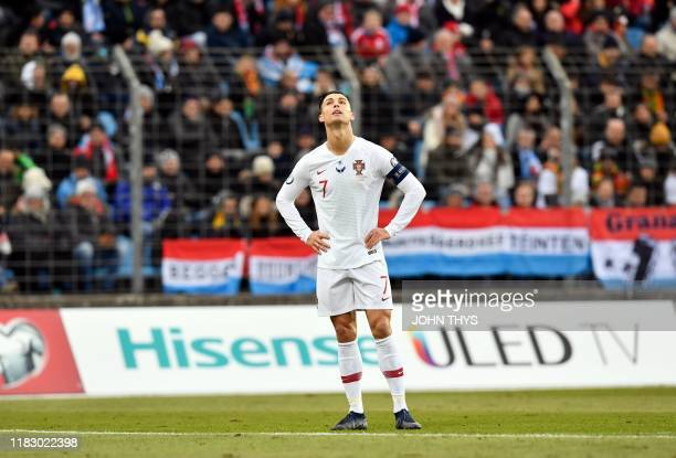 Portugal's forward Cristiano Ronaldo looks on during UEFA Euro 2020 Group B qualification football match between Luxembourg and Portugal at the Josy...