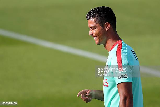 Portugals forward Cristiano Ronaldo Portugal's National Team Training session in preparation for the Euro 2016 at FPF Cidade do Futebol on June 5...