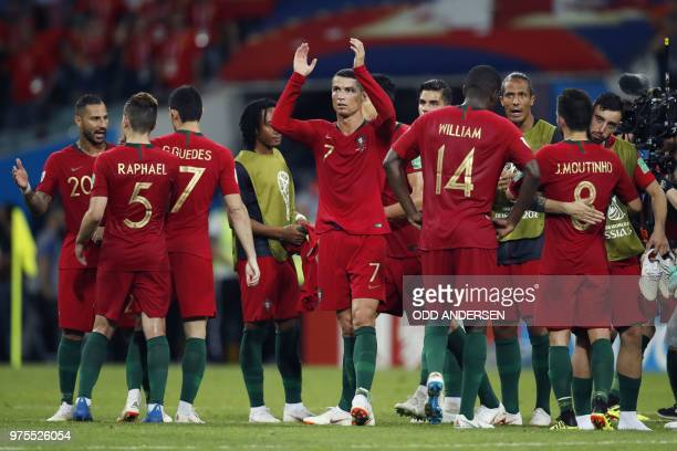 Portugal's forward Cristiano Ronaldo reacts after the Russia 2018 World Cup Group B football match between Portugal and Spain at the Fisht Stadium in...