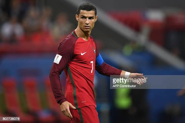 Portugal's forward Cristiano Ronaldo reacts during the 2017 Confederations Cup semifinal football match between Portugal and Chile at the Kazan Arena...