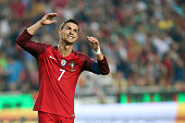 portugals forward cristiano ronaldo reacts during