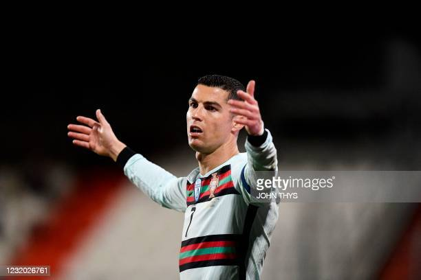 Portugal's forward Cristiano Ronaldo reacts during the FIFA World Cup Qatar 2022 qualification Group A football match between Luxembourg and Portugal...