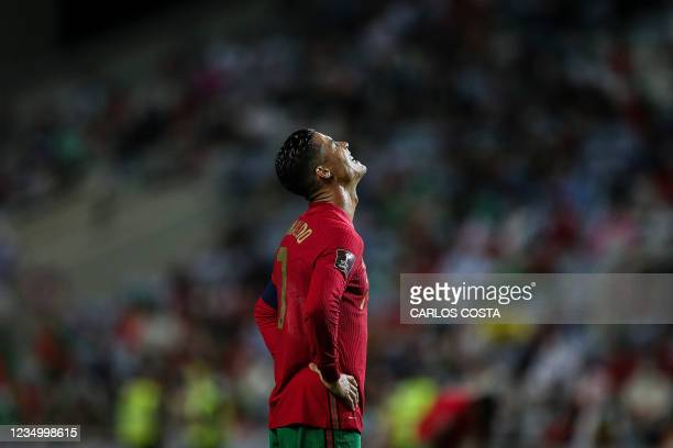 Portugal's forward Cristiano Ronaldo reacts during the FIFA World Cup Qatar 2022 European qualifying round group A football match between Portugal...