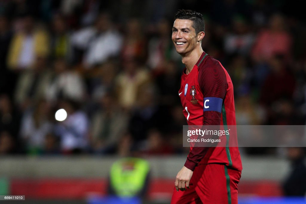 Portugal's forward Cristiano Ronaldo reacts during the match between Portugal v Sweden - International Friendly at Estadio dos Barreiros on March 28, 2017 in Funchal, Madeira, Portugal.