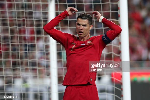Portugal's forward Cristiano Ronaldo reacts during the UEFA EURO 2020 group B qualifying football match Portugal vs Serbia at the Luz Stadium in...