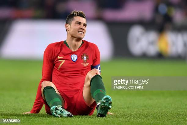 Portugal's forward Cristiano Ronaldo reacts during their international friendly football match between Portugal and Netherlands at Stade de Geneve...