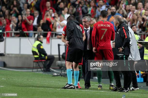 Portugal's forward Cristiano Ronaldo requests substitution after gets injury during the UEFA EURO 2020 group B qualifying football match Portugal vs...