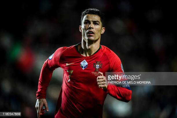 Portugal's forward Cristiano Ronaldo runs during the Euro 2020 Group B football qualification match between Portugal and Lithuania at the Algarve...