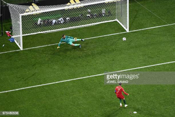 TOPSHOT Portugal's forward Cristiano Ronaldo scores a penalty during the Russia 2018 World Cup Group B football match between Portugal and Spain at...