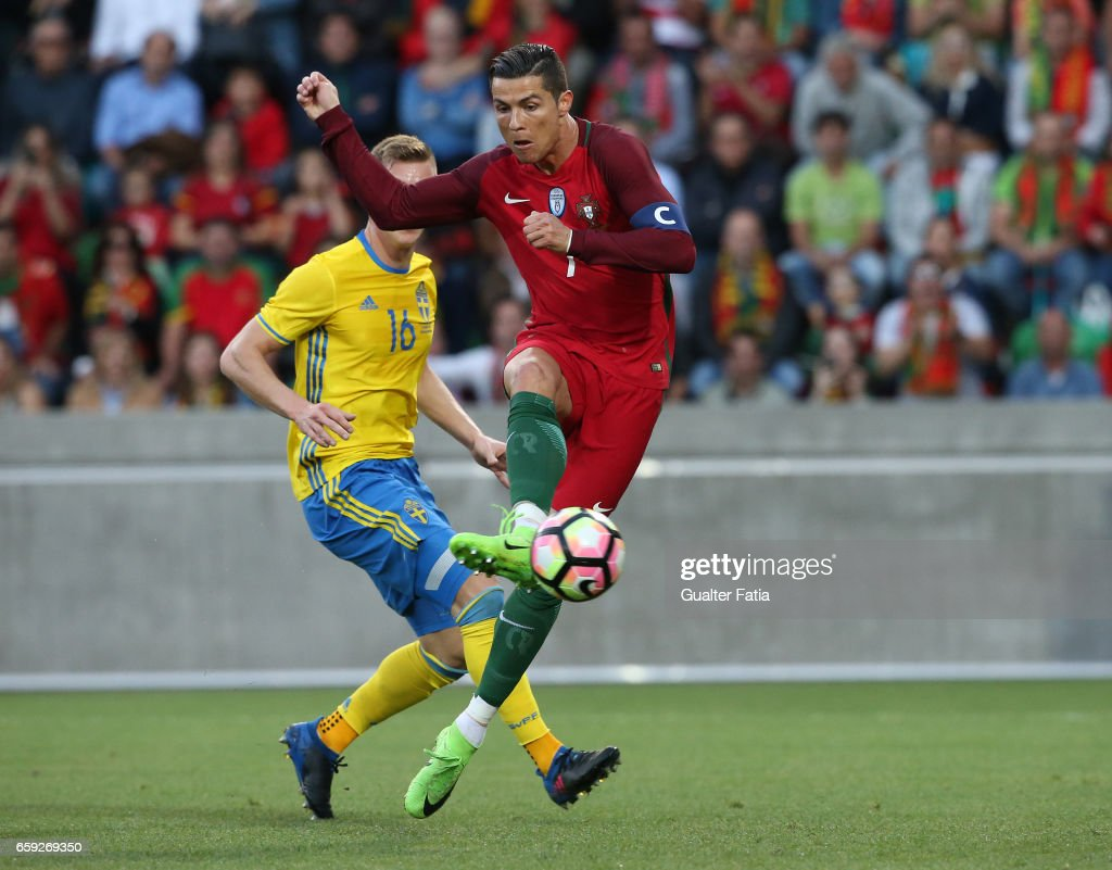 Portugal's forward Cristiano Ronaldo scores goal during the International Friendly match between Portugal and Sweden at Estadio dos Barreiros on March 28, 2017 in Funchal (Madeira), Portugal.