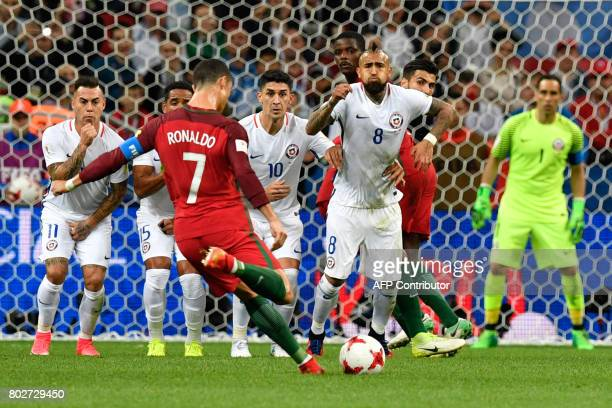 Portugal's forward Cristiano Ronaldo shoots a free kick during the 2017 Confederations Cup semifinal football match between Portugal and Chile at the...
