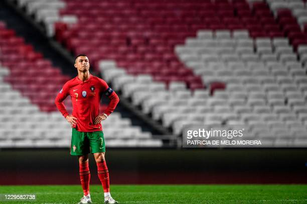 Portugal's forward Cristiano Ronaldo stands on the pitch during the international friendly football match between Portugal and Andorra at the Luz...