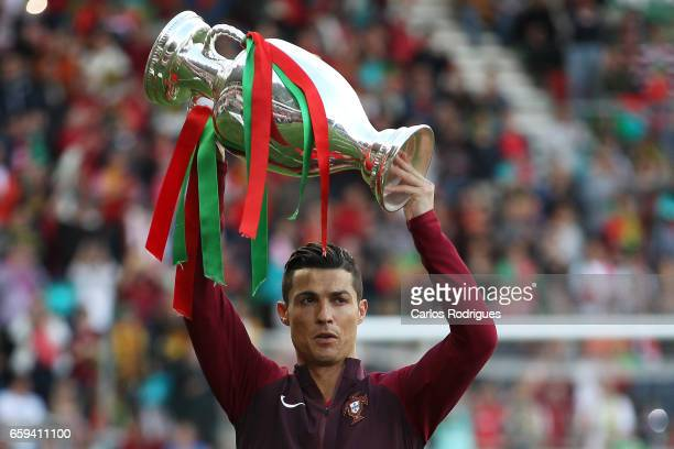 Portugal's forward Cristiano Ronaldo with European CUP trophy during the match between Portugal v Sweden International Friendly at Estadio dos...
