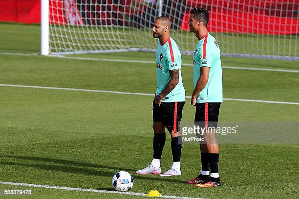 Portugals forward Cristiano Ronaldo with Portugals forward Ricardo Quaresma Portugal's National Team Training session in preparation for the Euro...