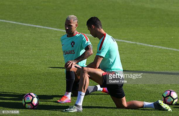 Portugal's forward Cristiano Ronaldo with Portugal's forward Ricardo Quaresma during Portugal's National Team Training session before the 2018 FIFA...