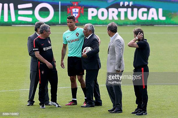 Portugal's forward Cristiano Ronaldo with Portugal's Prime Minister Antonio Costa during a Portugal training session in preparation for Euro 2016 at...