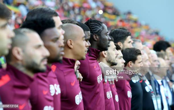 PortugalÕs forward Eder and teammates during the National Anthem before the start of the International Friendly match between Portugal and Sweden at...