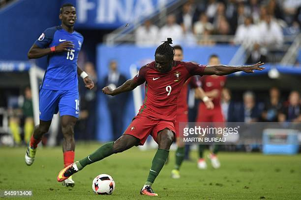 TOPSHOT Portugal's forward Eder shoots to score the team's first goal during the Euro 2016 final football match between France and Portugal at the...