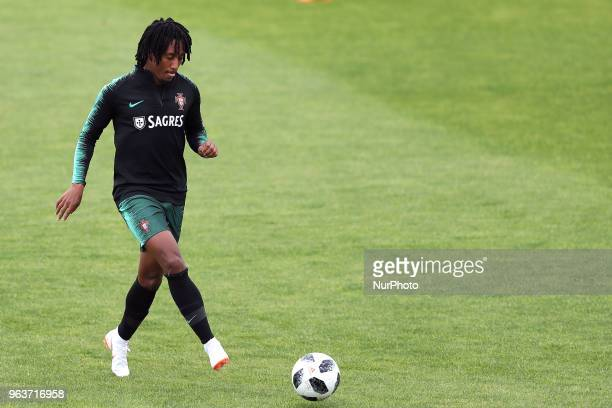 Portugal's forward Gelson Martins in action during a training session at Cidade do Futebol training camp in Oeiras outskirts of Lisbon on May 30...