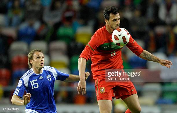 Portugal's forward Hugo Almeida vies with Finland's Markus Heikinen during the friendly football match Portugal vs Finland at the Municipal Stadium...