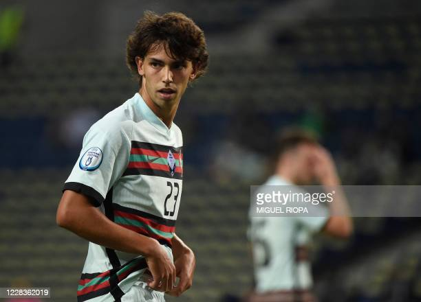 Portugal's forward Joao Felix reacts during the UEFA Nations League A group 3 football match between Portugal and Croatia at the Dragao Stadium in...
