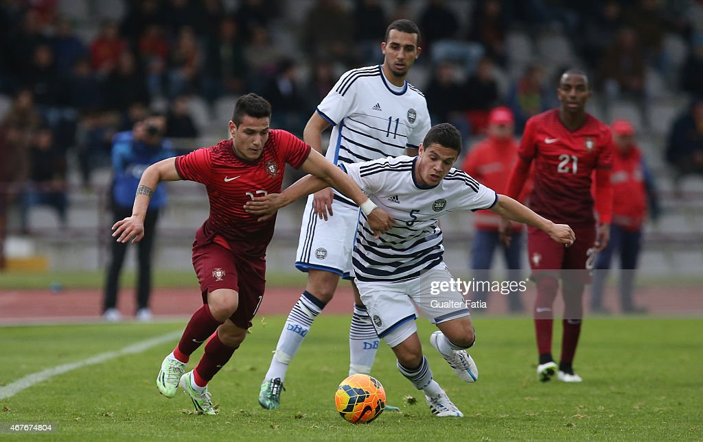 Portugal's forward Marcos Lopes with Denmark's defender Patrick da Silva during the U21 International Friendly between Portugal and Denmark on March 26, 2015 in Marinha Grande, Portugal.