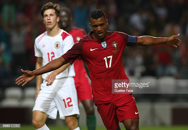 Portugal's forward Nani celebrates after scoring a goal during the International Friendly match between Portugal and Gibraltar at Estadio do Bessa on...