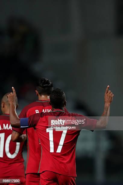 PortugalÕs forward Nani celebrates scoring Portugal second goal during the match between Portugal vs Gilbratar friendly match at Estadio do Bessa on...