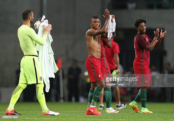 Portugal's forward Nani celebrates the win at the end of the International Friendly match between Portugal and Gibraltar at Estadio do Bessa on...
