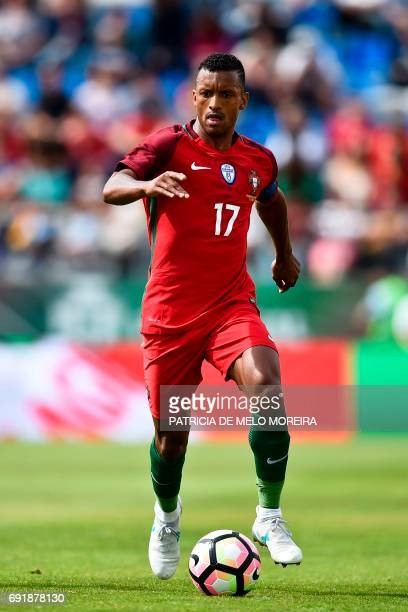 Portugal's forward Nani controls the ball during the friendly international football match Portugal vs Cyprus at the Antonio Coimbra da Mota stadium...