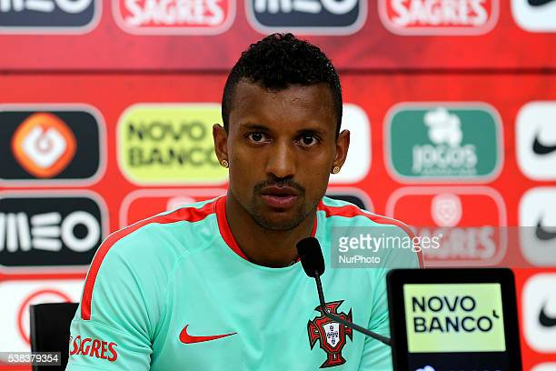 Portugals forward Nani during Portugal's National Team Press Conference in preparation for the Euro 2016 at FPF Cidade do Futebol on June 5 2016 in...