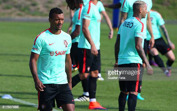 Portugal's forward Nani during Portugal's National Team Training session before the 2018 FIFA World Cup Qualifiers matches against Andorra and the...