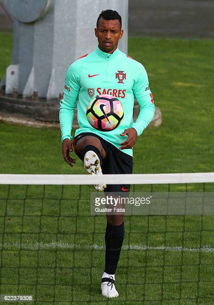 Portugal's forward Nani during Portugal's National Team Training session before the 2018 FIFA World Cup Qualifiers matches against Latvia at FPF...