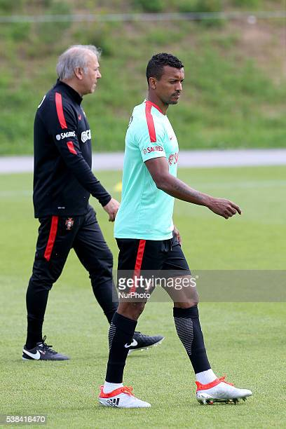Portugals forward Nani in action during Portugal's National Team Press Conference and Training session in preparation for the Euro 2016 at FPF Cidade...