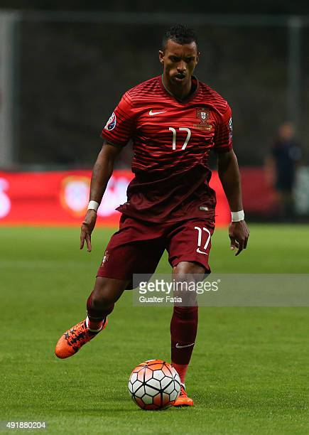 Portugal's forward Nani in action during the UEFA EURO 2016 Qualifier match between Portugal and Denmark at Estadio Municipal de Braga on October 8...