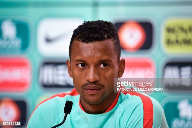 Portugal's forward Nani looks on during a press conference at Cidade do Futebol training camp in Oeiras outskirts of Lisbon on June 6 2017 two days...