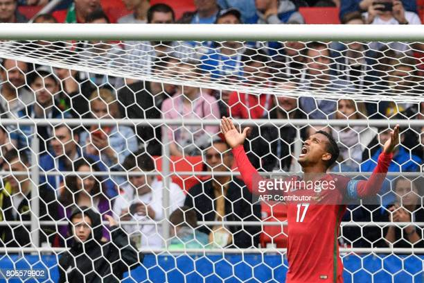 Portugal's forward Nani reacts afer failing to score during the 2017 Confederations Cup third place football match between Portugal and Mexico at...