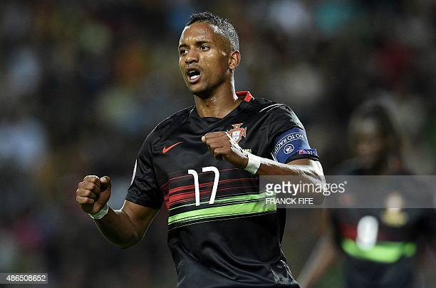 Portugal's forward Nani reacts after missing a goal opportunity during the Euro 2016 friendly football match Portugal vs France at the Jose Alvalade...