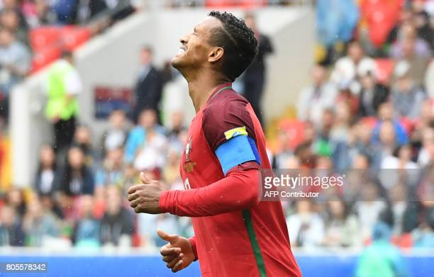 Portugal's forward Nani reacts during the 2017 FIFA Confederations Cup third place football match between Portugal and Mexico at the Spartak Stadium...