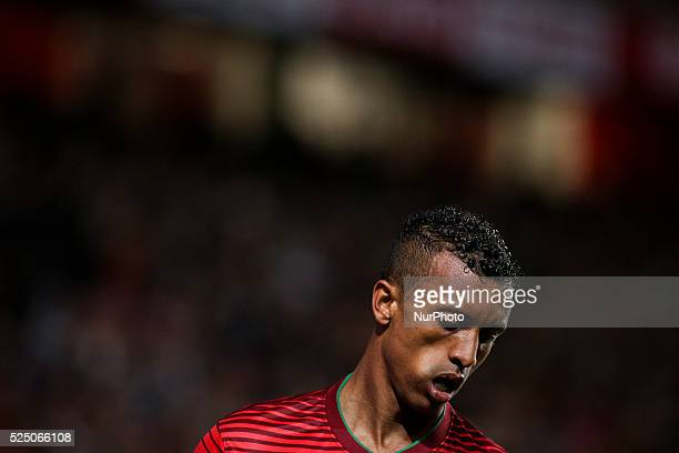 Portugals forward Nani reacts during the Portugal vs Serbia EURO 2016 qualifying football match at Luz stadium in Lisbon on March 29 2015...