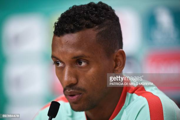 Portugal's forward Nani speaks during a press conference at 'Cidade do Futebol' training camp in Oeiras outskirts of Lisbon on June 6 2017 two days...