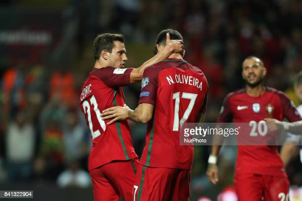 Portugal's forward Nelson Oliveira celebrates after scoring a goal during the FIFA World Cup Russia 2018 qualifier match between Portugal and Faroe...