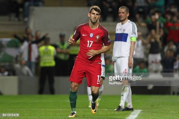 Portugal's forward Nelson Oliveira celebrates after scoring goal during the FIFA World Cup Russia 2018 qualifier match between Portugal and Faroe...