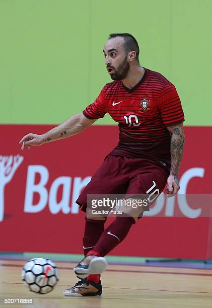 Portugal's forward Ricardinho in action during the FIFA Futsal playoff match between Portugal and Serbia at Pavilhao Multiusos de Odivelas on April...