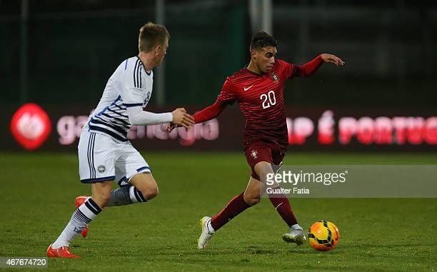 Portugal's forward Ricardo Horta with Denmark's midfielder Nicolaj Thomsen during the U21 International Friendly between Portugal and Denmark on...