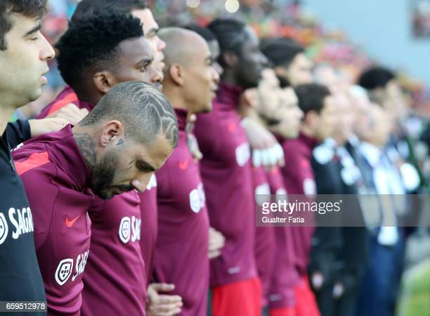 PortugalÕs forward Ricardo Quaresma and teammates during the National Anthem before the start of the International Friendly match between Portugal...