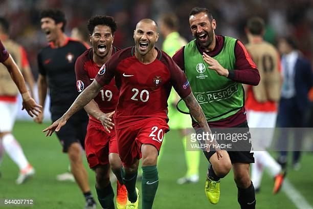 Portugal's forward Ricardo Quaresma celebrates after scoring the winning goal in a penalty shootout the Euro 2016 quarterfinal football match between...