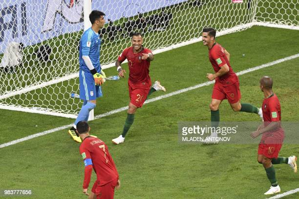 TOPSHOT Portugal's forward Ricardo Quaresma celebrates scoring the opening goal with his teammates during the Russia 2018 World Cup Group B football...