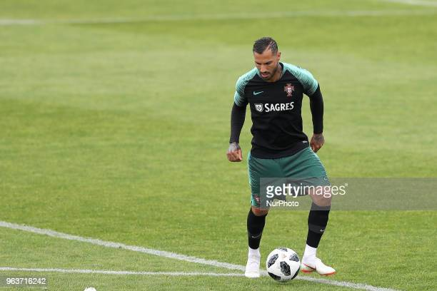 Portugal's forward Ricardo Quaresma in action during a training session at Cidade do Futebol training camp in Oeiras, outskirts of Lisbon, on May 30...