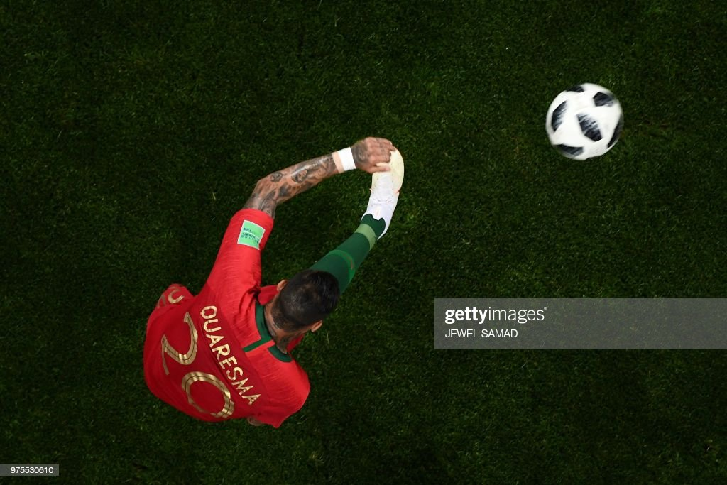 TOPSHOT - Portugal's forward Ricardo Quaresma kicks the ball during the Russia 2018 World Cup Group B football match between Portugal and Spain at the Fisht Stadium in Sochi on June 15, 2018. (Photo by Jewel SAMAD / AFP) / RESTRICTED